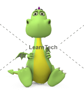 Character Poses – Dragon_Sitting with holding card | Online Store | LearnTech
